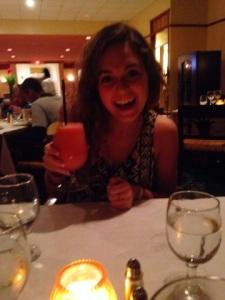 Enjoying my first margarita at dinner!